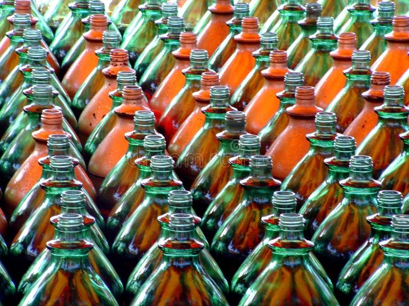 Phalange des bouteilles photo stock