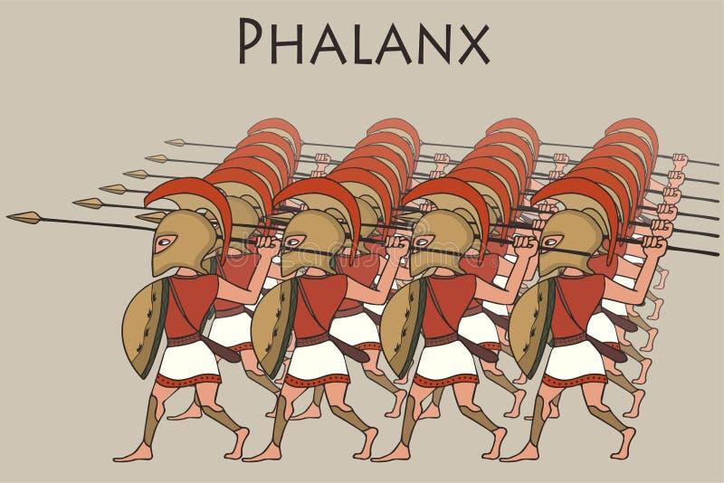Phalange du grec ancien de bande dessinée illustration stock