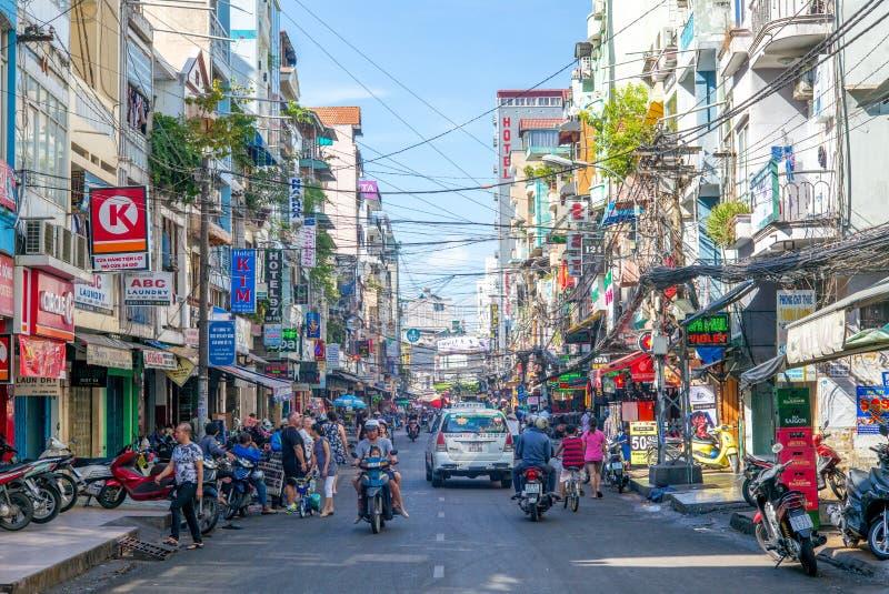 Pham Ngu Lao-straat in Vietnam royalty-vrije stock afbeelding