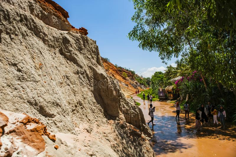 PHAN THIET, BINH THUAN, VIETNAM, May 7th, 2018: Fairy Stream Canyon Red river between rocks and jungle Mui Ne Vietnam stock images