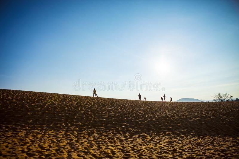PHAN THIET, BINH THUAN, VIETNAM, May 7th, 2018: Red Sand Dunes and Sky near Mui Ne, Vietnam royalty free stock images