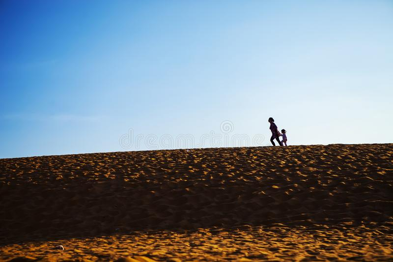 PHAN THIET, BINH THUAN, VIETNAM, May 7th, 2018: Red Sand Dunes and Sky near Mui Ne, Vietnam stock photography