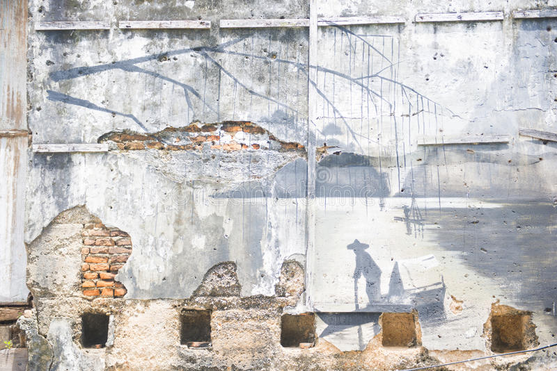 Phang Nga, Thaïlande - 24 juillet 2016 : art de rue chez Takuapa vieux photos libres de droits