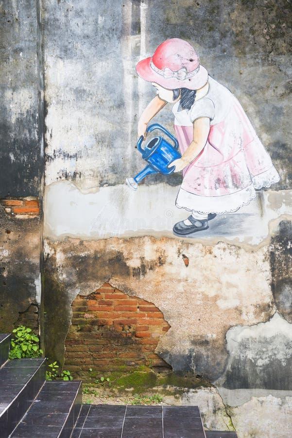 Phang Nga Thailand - Juli 24, 2016: gatakonst på gamla Takuapa arkivbilder