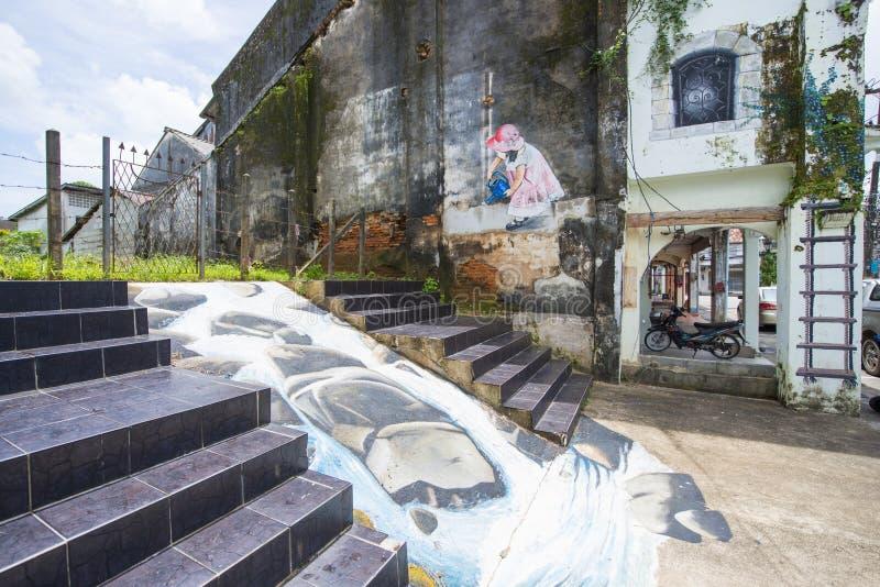Phangnga, Thailand - 24. Juli 2016: Straßenkunst bei Takuapa alt lizenzfreie stockfotografie