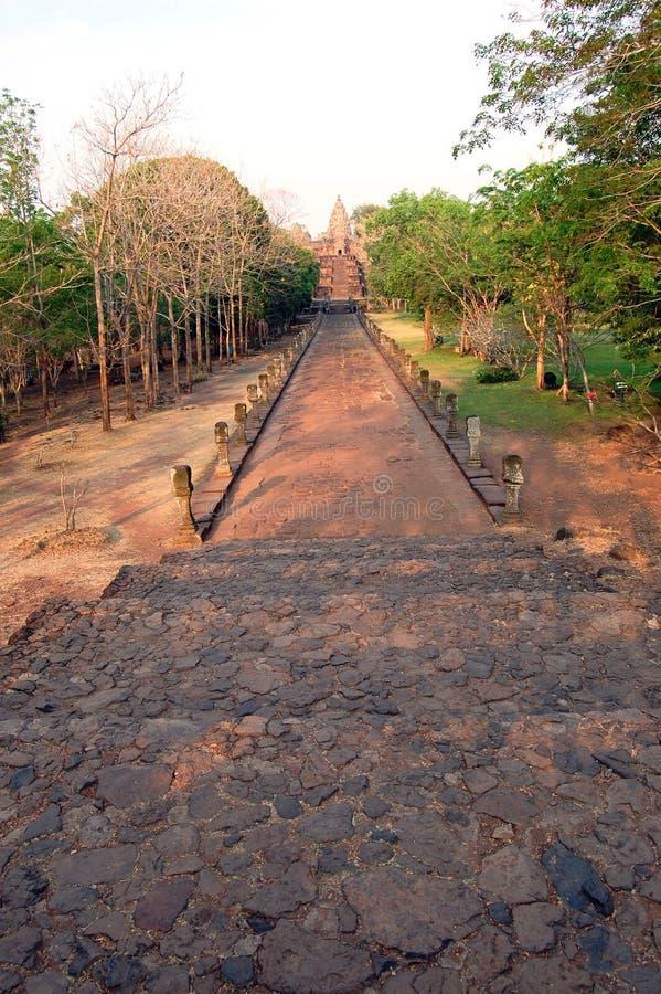 Phanom ringde stenslotten fördärvar av Buriram Thailand arkivfoton