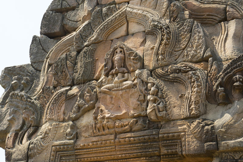 Phanomrung historical park,Burirum,Thailand. Details of sandstone carving at Phanomrung historical park,Burirum,Thailand royalty free stock image
