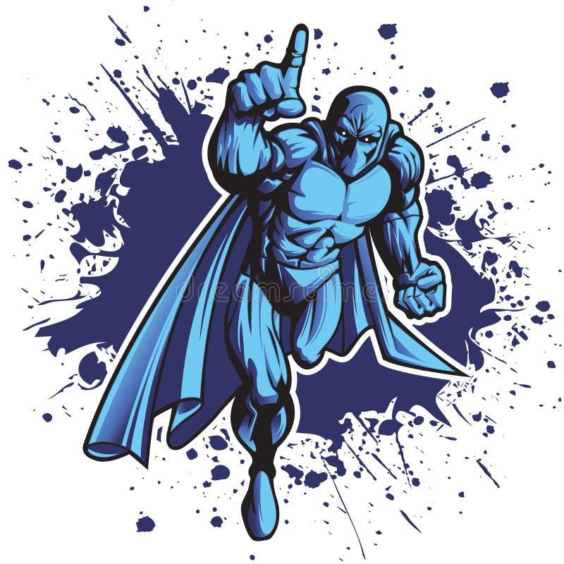 Phantom. Dark superhero or villain charging forward. Put your logo on his chest royalty free illustration