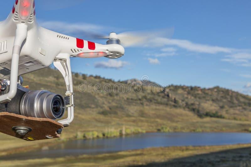 Phantom drone quadcopter flying royalty free stock image