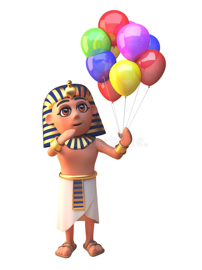 Pharao 3d Tutankhamun-Charakter, der viele farbigen Parteiballone für eine Feier, Illustration 3d hält stock abbildung