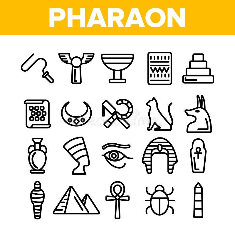 Pharaoh, διανυσματικά λεπτά εικονίδια γραμμών βασιλιάδων της Αιγύπτου καθορισμένα ελεύθερη απεικόνιση δικαιώματος