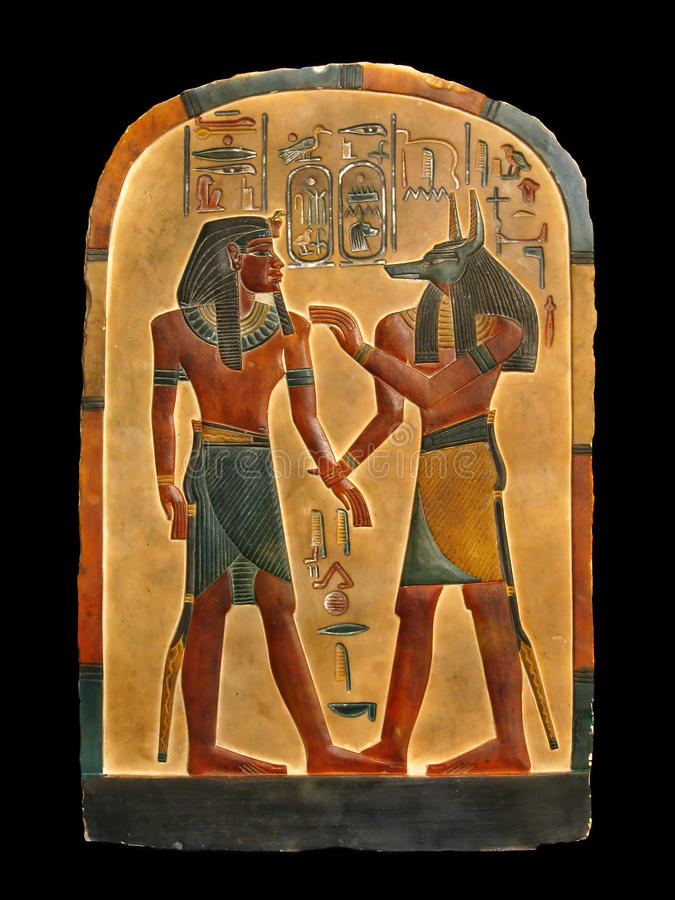 Pharaoh and Anubis. Egyptian palette. Pharaoh and god of embalming Anubis in Kingdom of the dead. Egyptian palette stock images