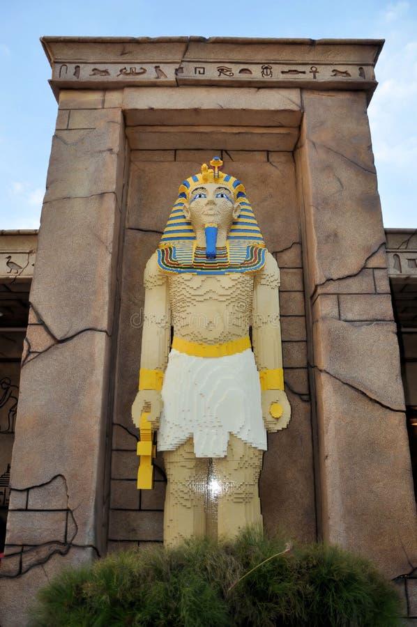 Pharaoh egiziano fatto con i blocchetti di Lego fotografia stock