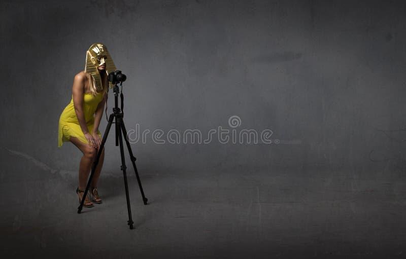 Pharaoh fotograf z tripod zdjęcia royalty free