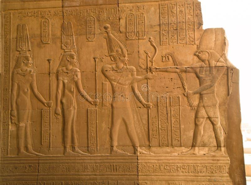 Pharaoh and gods of Kom Ombo Temple stock image