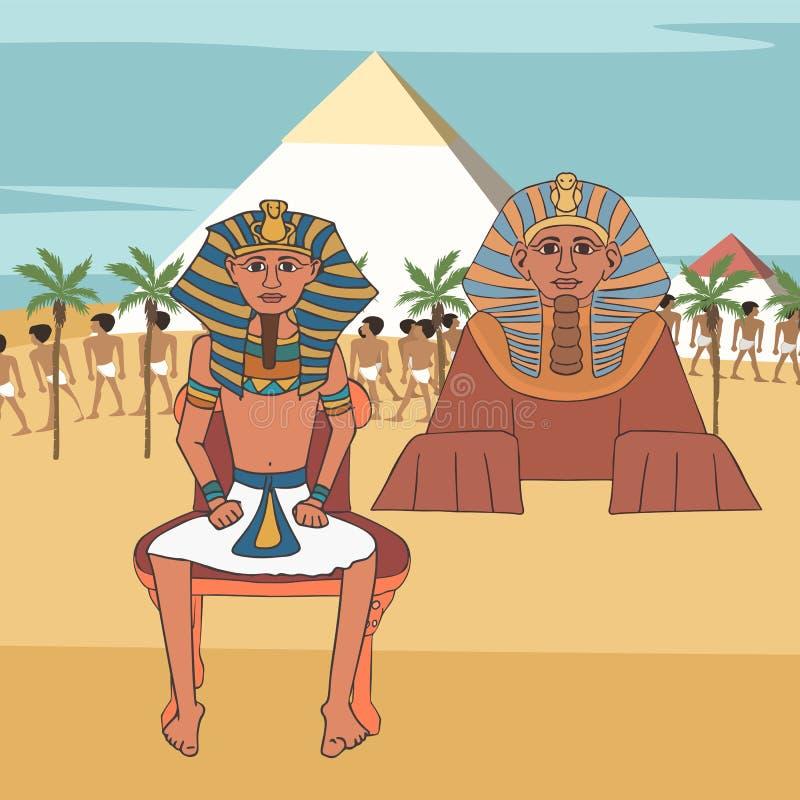 Pharaoh na tronie przy ostrosłupami i sfinksa tłem ilustracja wektor