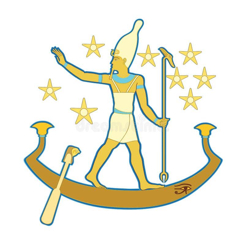 Pharaoh no barco ilustração royalty free