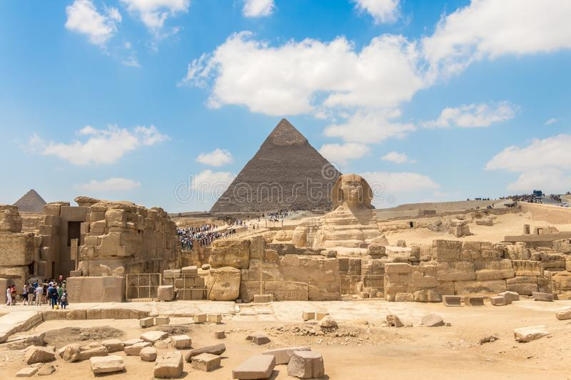 The pharaoh`s entire tomb complex at Giza royalty free stock photos