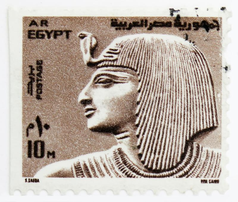 Pharaoh Sethos, Definitives serie, circa 1977. MOSCOW, RUSSIA - JULY 25, 2019: Postage stamp printed in Egypt shows Pharaoh Sethos, Definitives serie, circa 1977 stock image