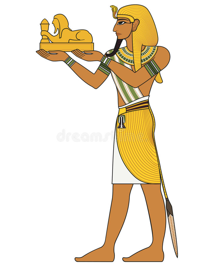 Pharaoh With Sphinx Figure Of Ancient Egypt God Stock Vector