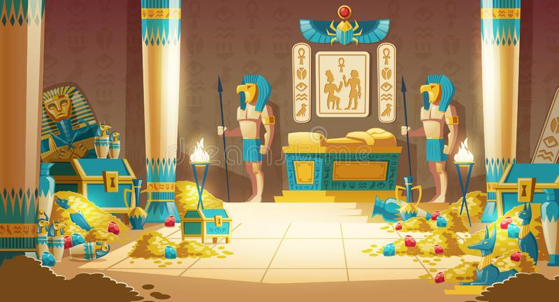 Pharaoh tomb full of treasures cartoon vector. Egypt pharaoh tomb or treasury cartoon vector with warriors in masks, armed spears, standing near royal golden vector illustration