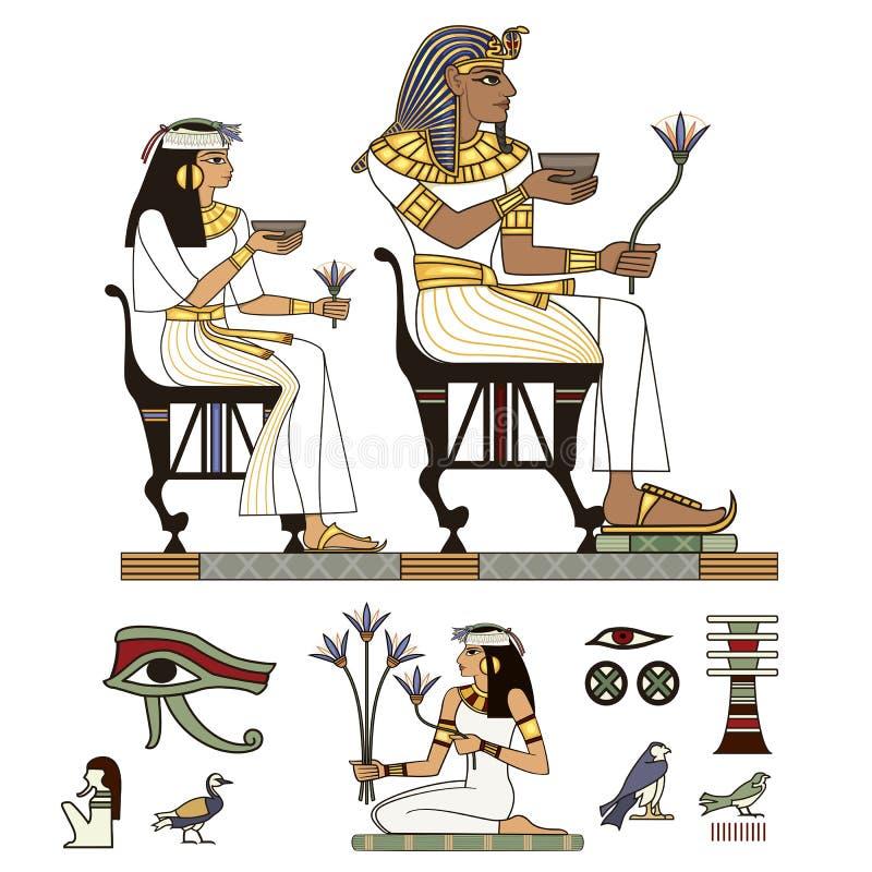 Pharaohs en goden kleurrijke vector Geplaatste de pictogrammen van Egypte stock illustratie