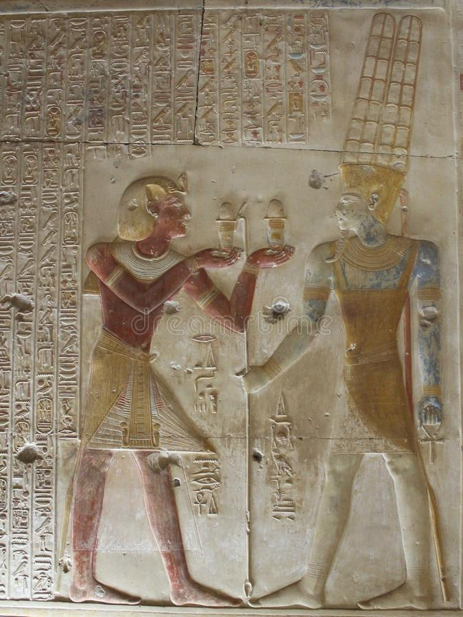 Pharaohs on the walls on Egypt. Colourful Pharaohs on the walls on Egypt temples royalty free stock image