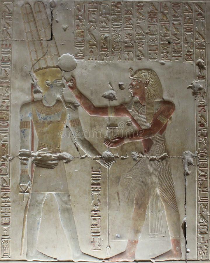 Pharaohs on the walls on Egypt. Colourful Pharaohs on the walls on Egypt temples stock photo
