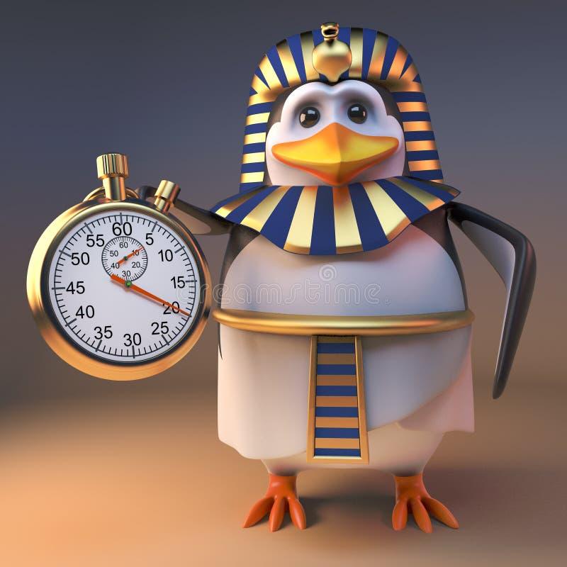 Pharaon efficace Tutankhamun du pingouin 3d tenant un chronomètre d'or, illustration 3d illustration stock