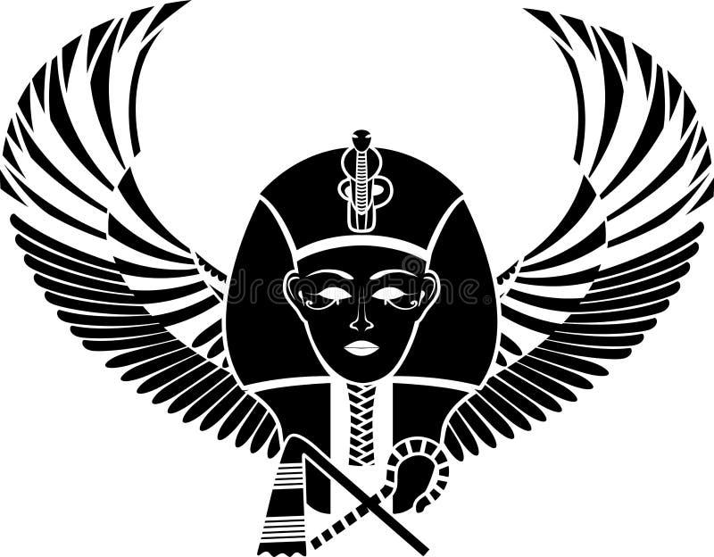 Pharaon egípcio com asas ilustração stock