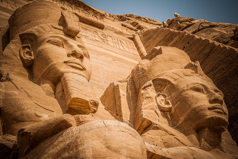 2 Pharaons. Abu Simbel, Egypt. Ancient site of Egiptian stock photo