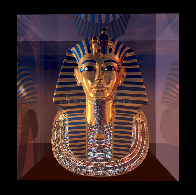 PharaoTotenmaskereflexionen stock abbildung