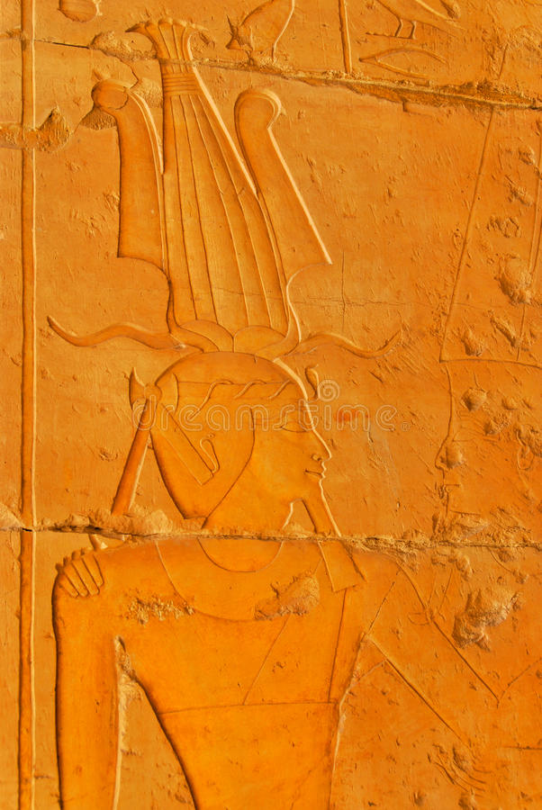 Pharaowanddetail an Hatshepsut-Tempel lizenzfreie stockfotos