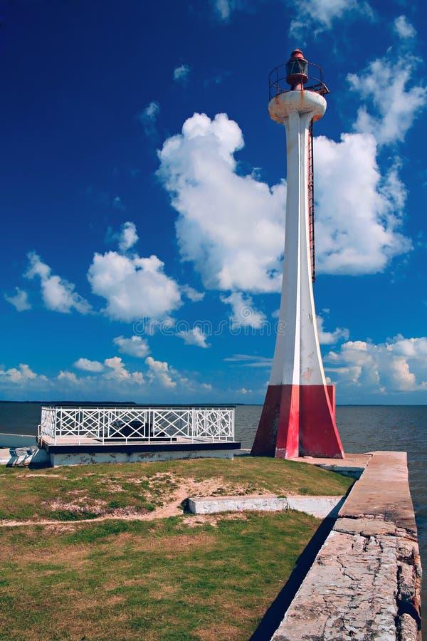 Phare au port de ville de Belize photo stock