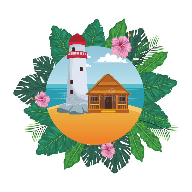 Phare avec le cottage illustration stock