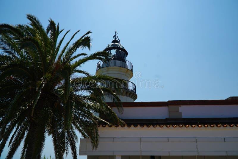 Phare avec un palmier dans l'avant image libre de droits