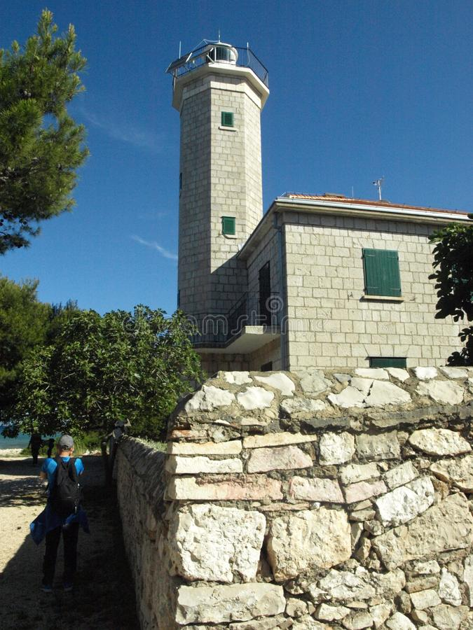 Phare, beau, pierre, droite, solidement, l'Adriatique, côte, vir, Croatie images libres de droits