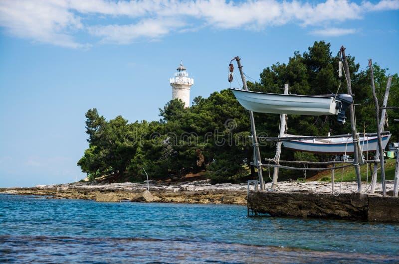 Phare chez Savudrija, Istria, Croatie images libres de droits