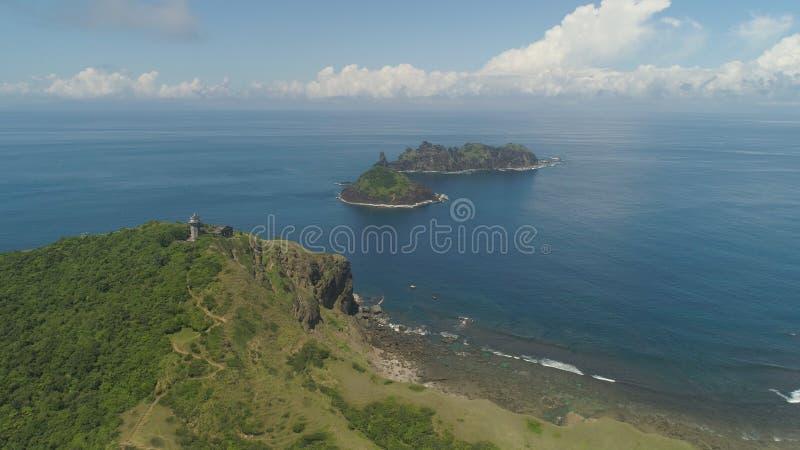 Phare dans l'engano de cap Philippines, île de Palaos image libre de droits