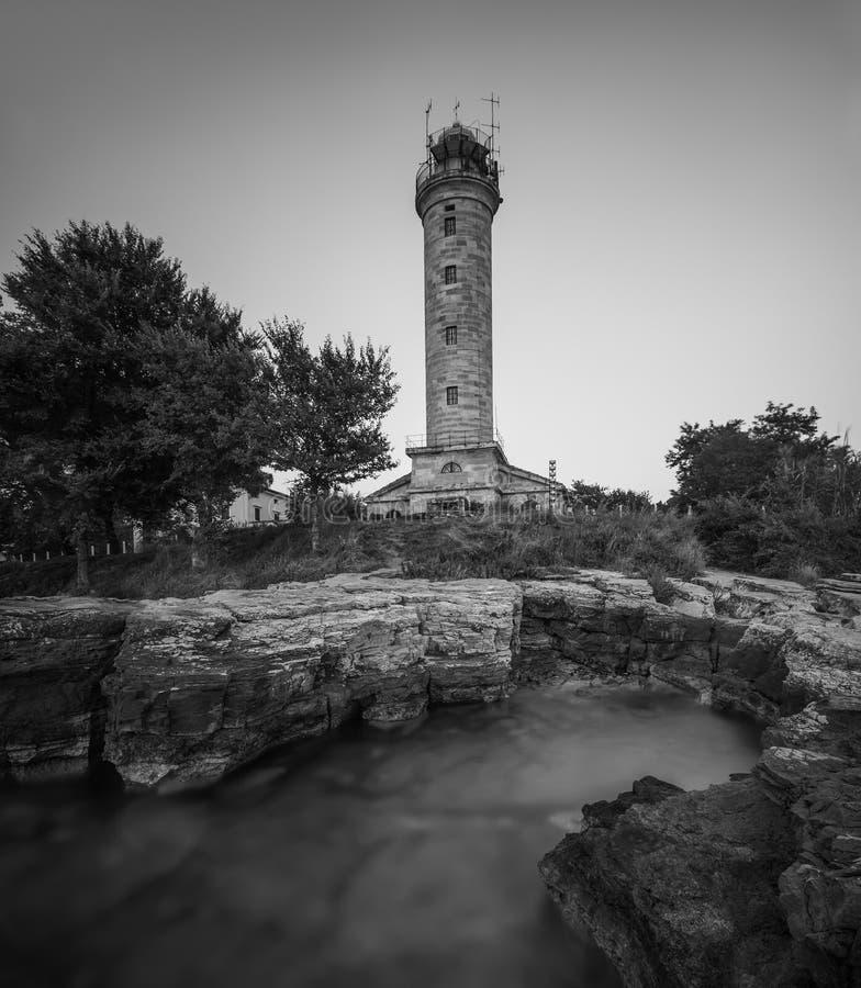 Phare dans Savudrija, Istria, Croatie, noire et blanche photo stock