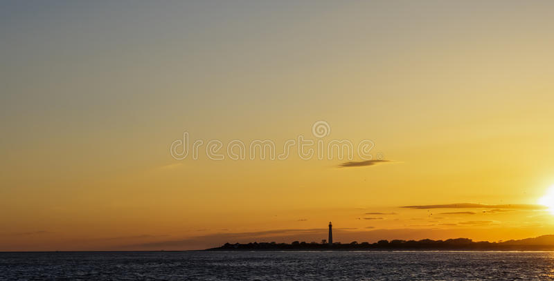 Phare de Cape May, New Jersey au coucher du soleil photo libre de droits