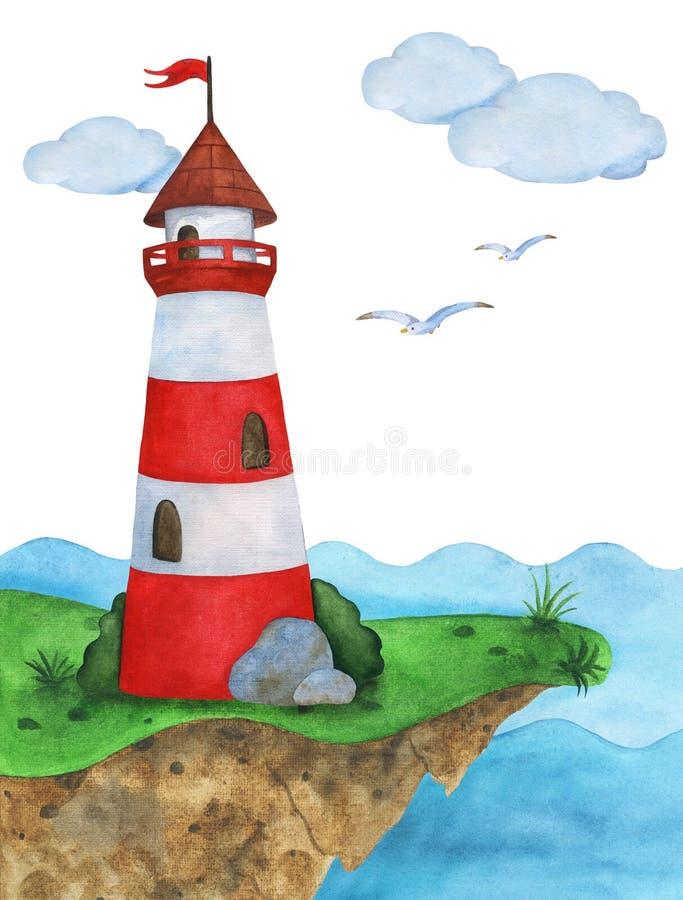 Phare de carte de voeux d'aquarelle sur le fond de la mer illustration libre de droits