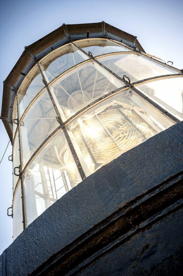 PHARE DE Chassiron Bovenkant van de vuurtoren met signaallens Eiland D ` Oleron in Franse Charente met gestreepte vuurtoren frank royalty-vrije stock afbeeldingen