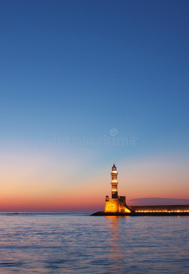 phare de hania de crépuscule photo stock