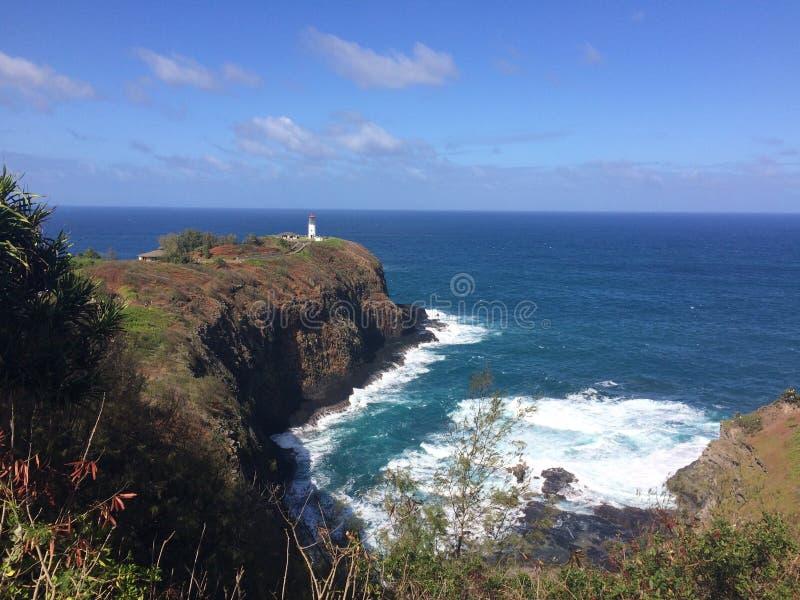 Phare de Kilauea et surveillance de réserve sur l'île de Kauai, Hawaï photographie stock