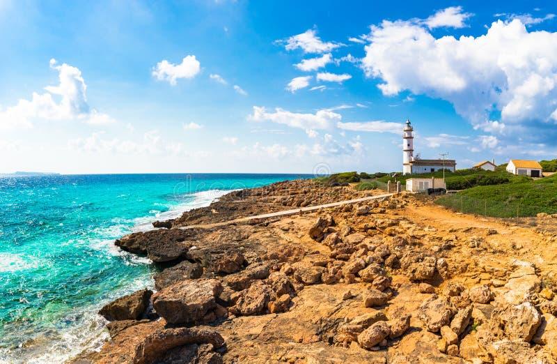 Phare de l'Espagne Majorca chez Cap de Ses Salines images libres de droits