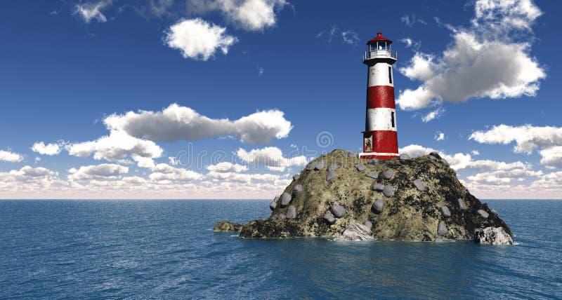 phare de l'illustration 3D avec le ciel bleu illustration stock