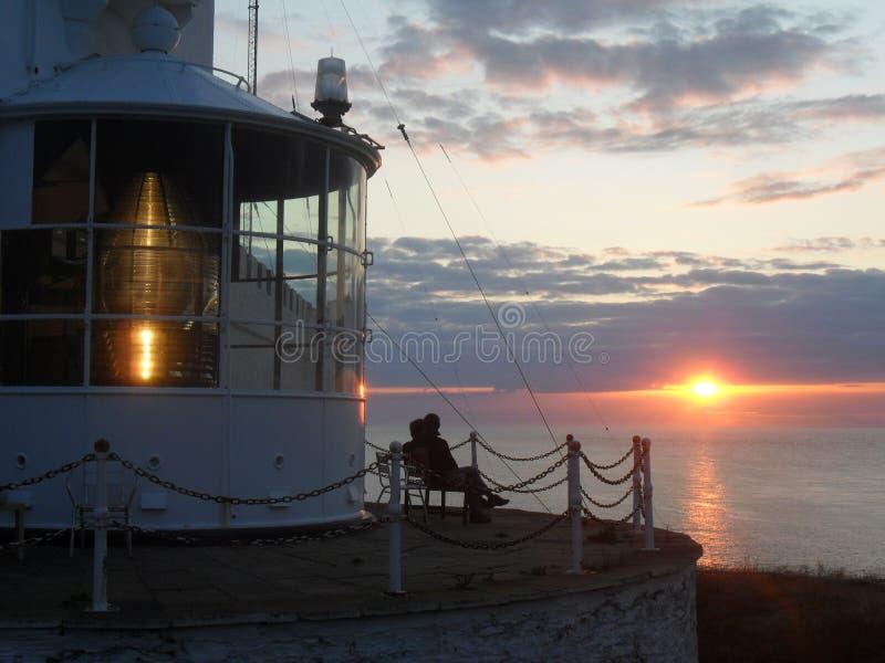 Phare de Lynas de point au coucher du soleil photographie stock