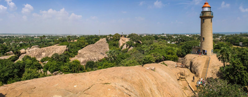 Phare de Mahabalipuram, Mahabalipuram, Tamil Nadu, Inde photo stock