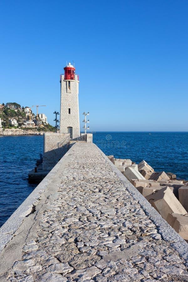 Phare de Nice Lighthouse sur la mer Méditerranée photo stock